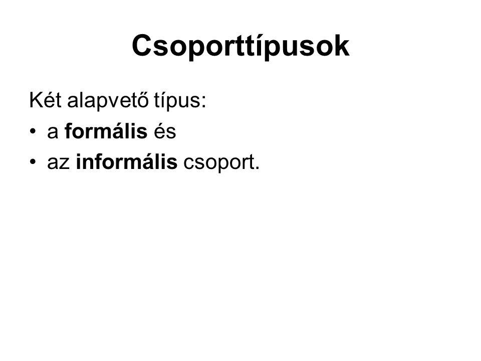 Csoporttípusok Két alapvető típus: •a formális és •az informális csoport.