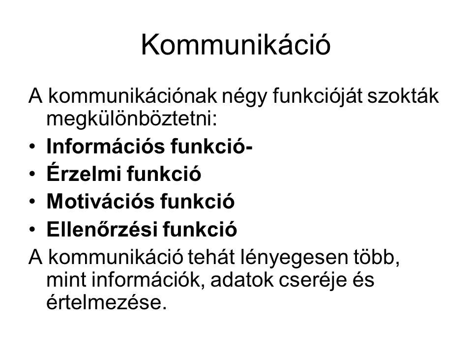 Kommunikáció A kommunikációnak négy funkcióját szokták megkülönböztetni: •Információs funkció- •Érzelmi funkció •Motivációs funkció •Ellenőrzési funkc