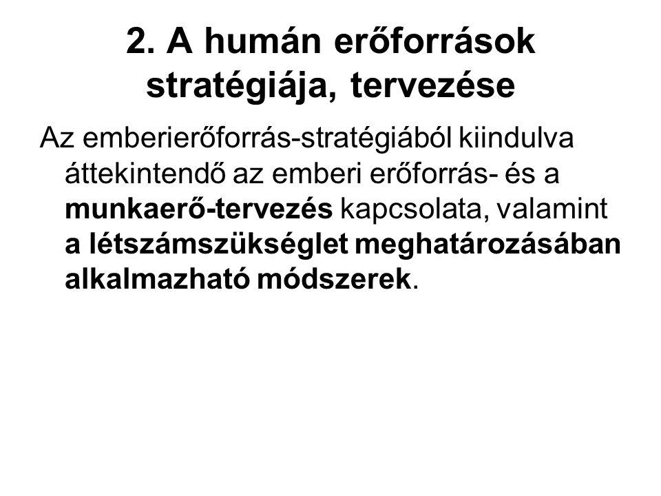 2. A humán erőforrások stratégiája, tervezése Az emberierőforrás-stratégiából kiindulva áttekintendő az emberi erőforrás- és a munkaerő-tervezés kapcs