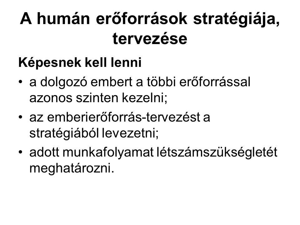 A humán erőforrások stratégiája, tervezése Képesnek kell lenni •a dolgozó embert a többi erőforrással azonos szinten kezelni; •az emberierőforrás-terv