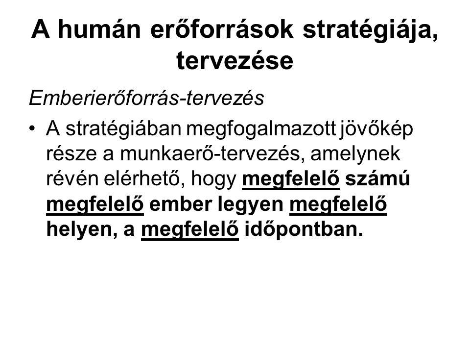 A humán erőforrások stratégiája, tervezése Emberierőforrás-tervezés •A stratégiában megfogalmazott jövőkép része a munkaerő-tervezés, amelynek révén e