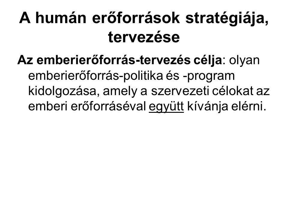 A humán erőforrások stratégiája, tervezése Az emberierőforrás-tervezés célja: olyan emberierőforrás-politika és -program kidolgozása, amely a szerveze