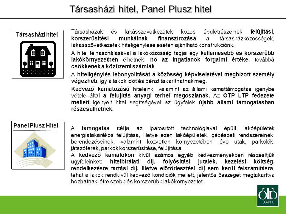 Társasházi hitel, Panel Plusz hitel Társasházak és lakásszövetkezetek közös épületrészeinek felújítási, korszerűsítési munkáinak finanszírozása a társ