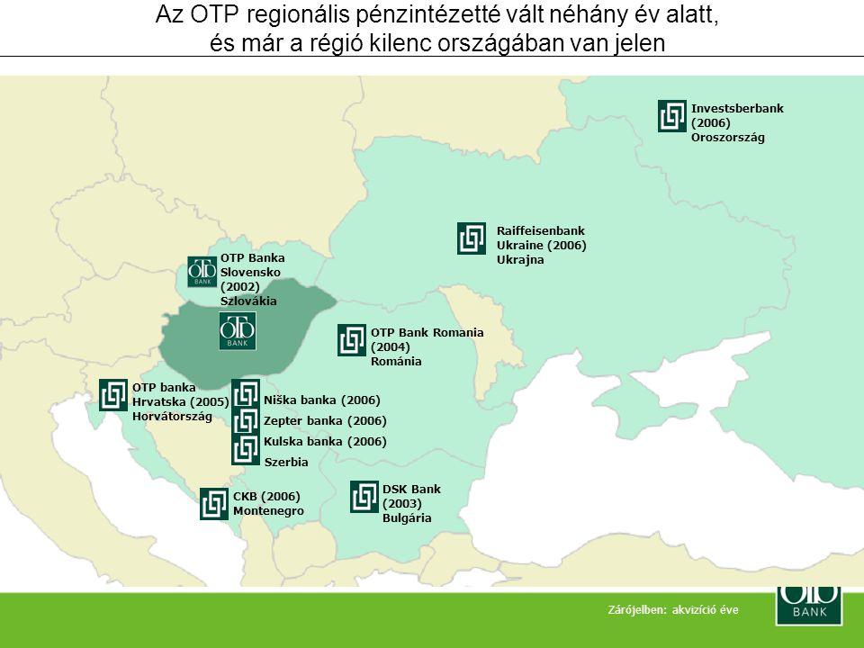 Az OTP Csoport Magyarország és a régió vezető pénzügyi szolgáltatója Kiemelkedő lakossági imázs és lojalitás •Közvéleménykutatások szerint a legmegbízhatóbb és legstabilabb bank Magyarországon •Technológiai innovátor A régió vezető pénzintézete •Az első magyar multinacionális cégből a kontinens egyik legértékesebb bankjává vált •Regionális terjeszkedés akvizíciókon keresztül •Jelenlét 9 országban Európa egyik legértékesebb bankja •Tőkearányos megtérülés: 32,3% •Eszközarányos megtérülés: 3,4 Tartós növekedési pályára állt •A mérlegfőösszeg magasan az infláció fölött növekedett az elmúlt években, •miközben a hatékonysági mutatók folyamatosan javultak.