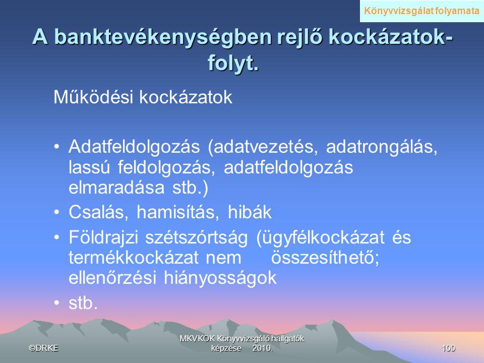 ©DRKE MKVKOK Könyvvizsgáló hallgatók képzése 2010.100 A banktevékenységben rejlő kockázatok- folyt. A banktevékenységben rejlő kockázatok- folyt. Műkö