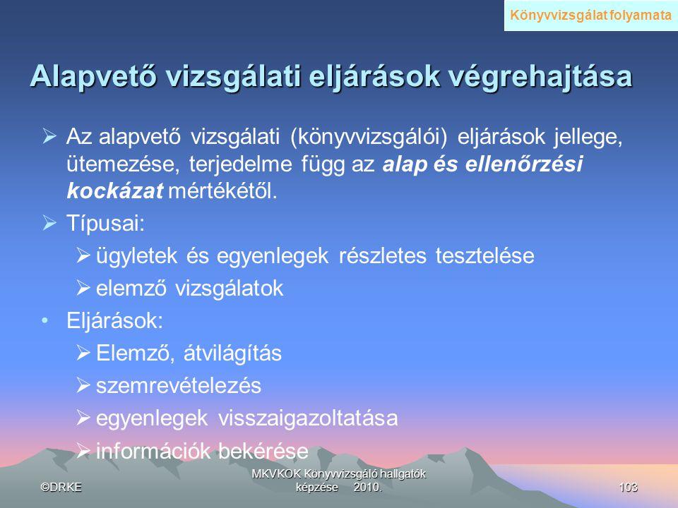 ©DRKE MKVKOK Könyvvizsgáló hallgatók képzése 2010.103 Alapvető vizsgálati eljárások végrehajtása  Az alapvető vizsgálati (könyvvizsgálói) eljárások j