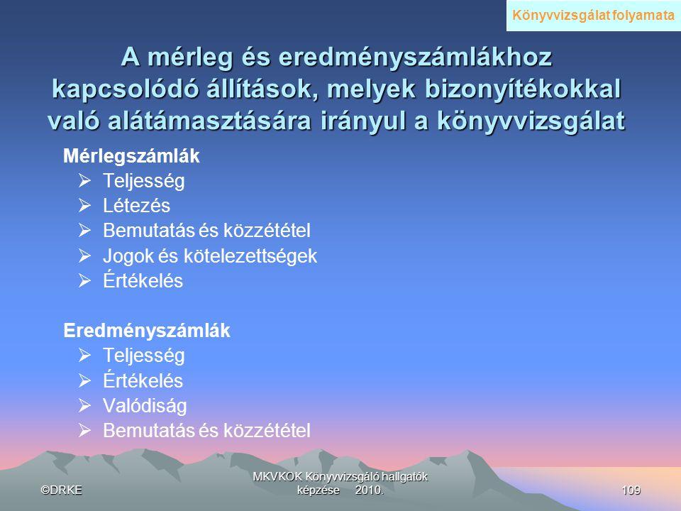 ©DRKE MKVKOK Könyvvizsgáló hallgatók képzése 2010.109 A mérleg és eredményszámlákhoz kapcsolódó állítások, melyek bizonyítékokkal való alátámasztására