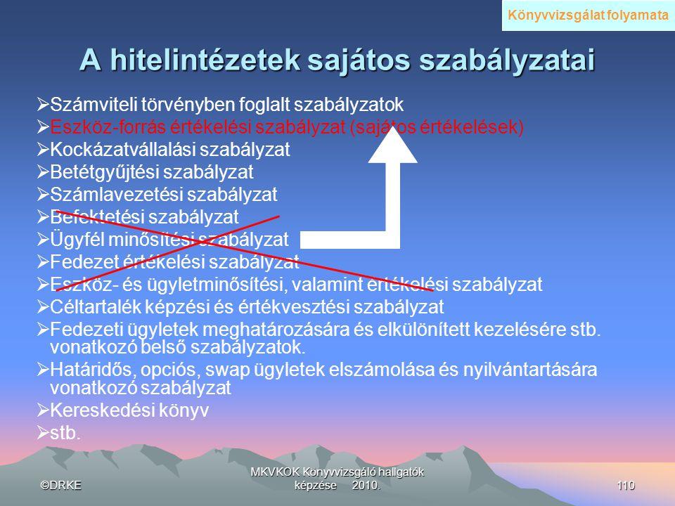 ©DRKE MKVKOK Könyvvizsgáló hallgatók képzése 2010.110 A hitelintézetek sajátos szabályzatai  Számviteli törvényben foglalt szabályzatok  Eszköz-forr