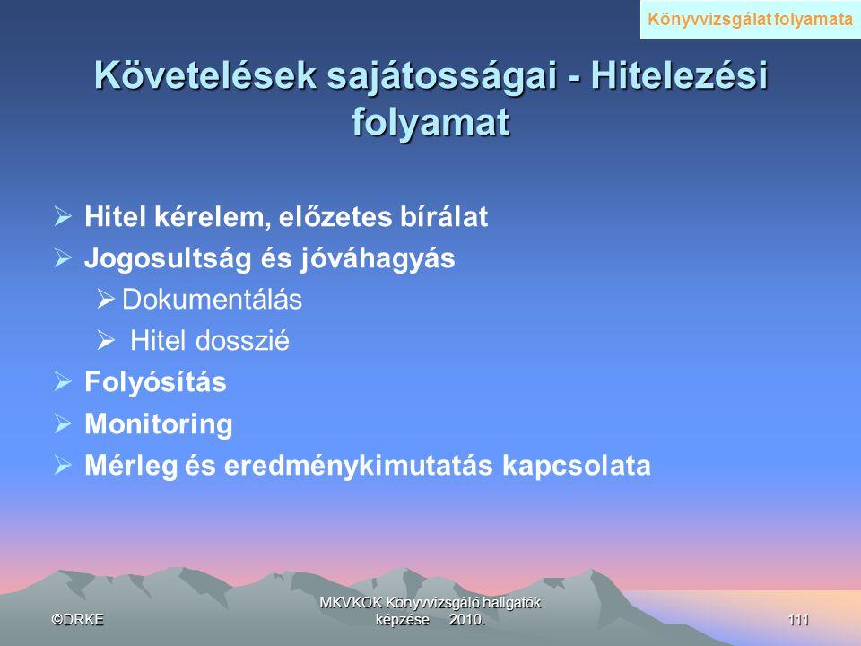 ©DRKE MKVKOK Könyvvizsgáló hallgatók képzése 2010.111 Követelések sajátosságai - Hitelezési folyamat  Hitel kérelem, előzetes bírálat  Jogosultság é