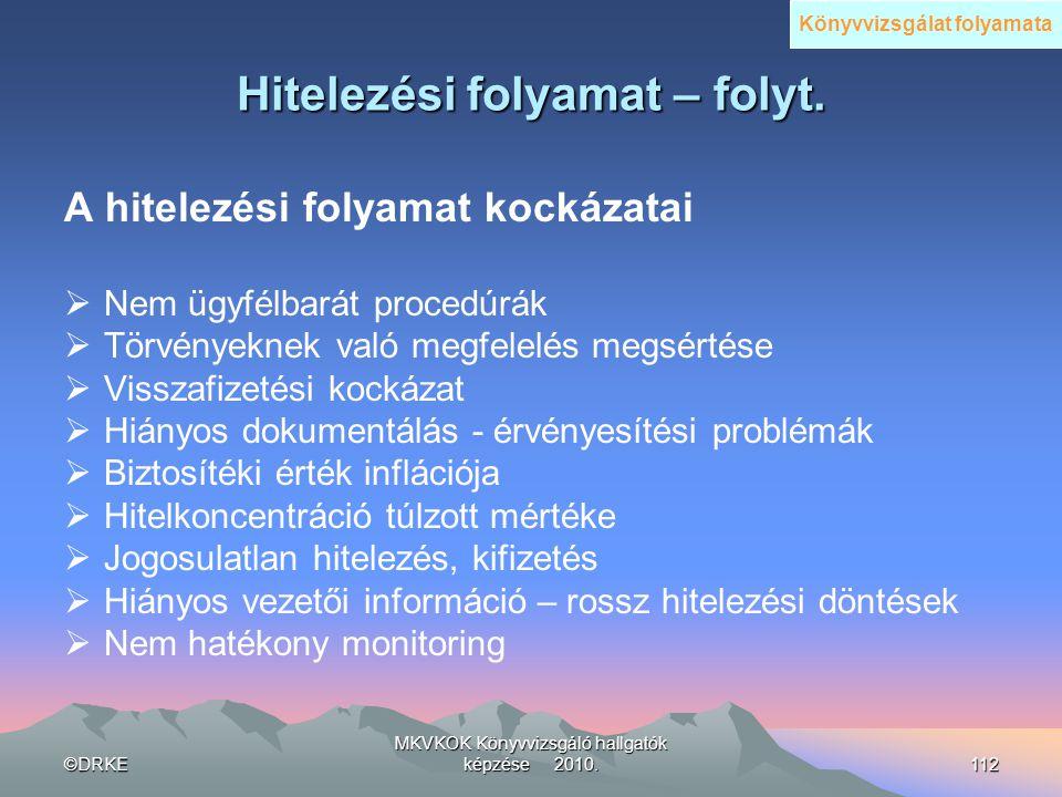 ©DRKE MKVKOK Könyvvizsgáló hallgatók képzése 2010.112 Hitelezési folyamat – folyt. A hitelezési folyamat kockázatai  Nem ügyfélbarát procedúrák  Tör