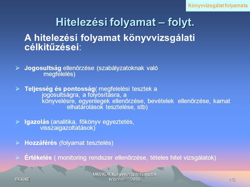 ©DRKE MKVKOK Könyvvizsgáló hallgatók képzése 2010.113 Hitelezési folyamat – folyt. A hitelezési folyamat könyvvizsgálati célkitűzései:  Jogosultság e
