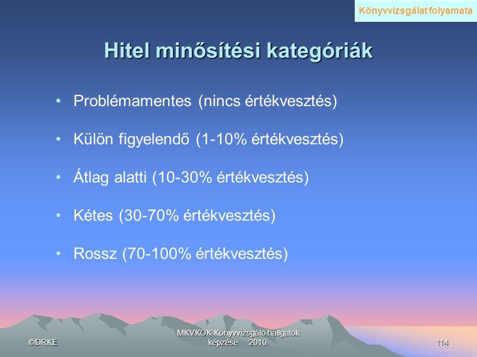 ©DRKE MKVKOK Könyvvizsgáló hallgatók képzése 2010.114 Hitel minősítési kategóriák •Problémamentes (nincs értékvesztés) •Külön figyelendő (1-10% értékv