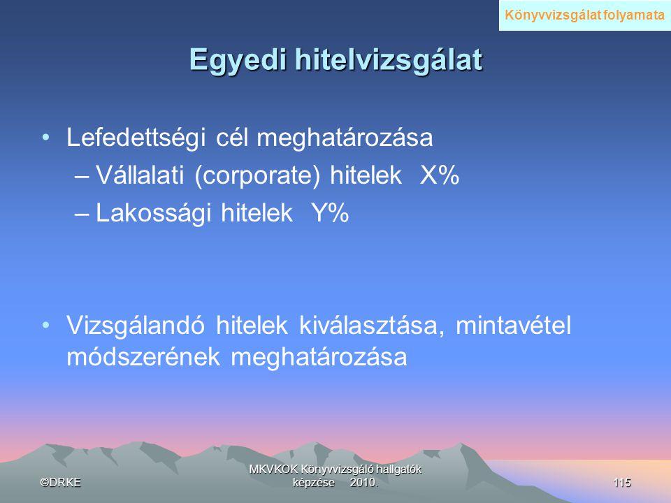 ©DRKE MKVKOK Könyvvizsgáló hallgatók képzése 2010.115 Egyedi hitelvizsgálat •Lefedettségi cél meghatározása –Vállalati (corporate) hitelek X% –Lakossá