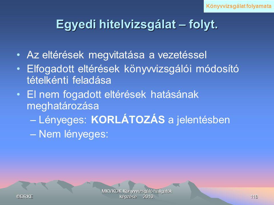 ©DRKE MKVKOK Könyvvizsgáló hallgatók képzése 2010.118 Egyedi hitelvizsgálat – folyt. •Az eltérések megvitatása a vezetéssel •Elfogadott eltérések köny