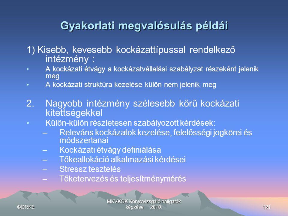 ©DRKE MKVKOK Könyvvizsgáló hallgatók képzése 2010.121 Gyakorlati megvalósulás példái 1) Kisebb, kevesebb kockázattípussal rendelkező intézmény : •A ko