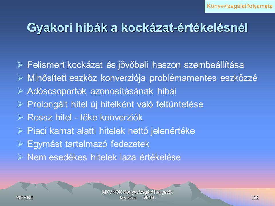 ©DRKE MKVKOK Könyvvizsgáló hallgatók képzése 2010.122 Gyakori hibák a kockázat-értékelésnél  Felismert kockázat és jövőbeli haszon szembeállítása  M