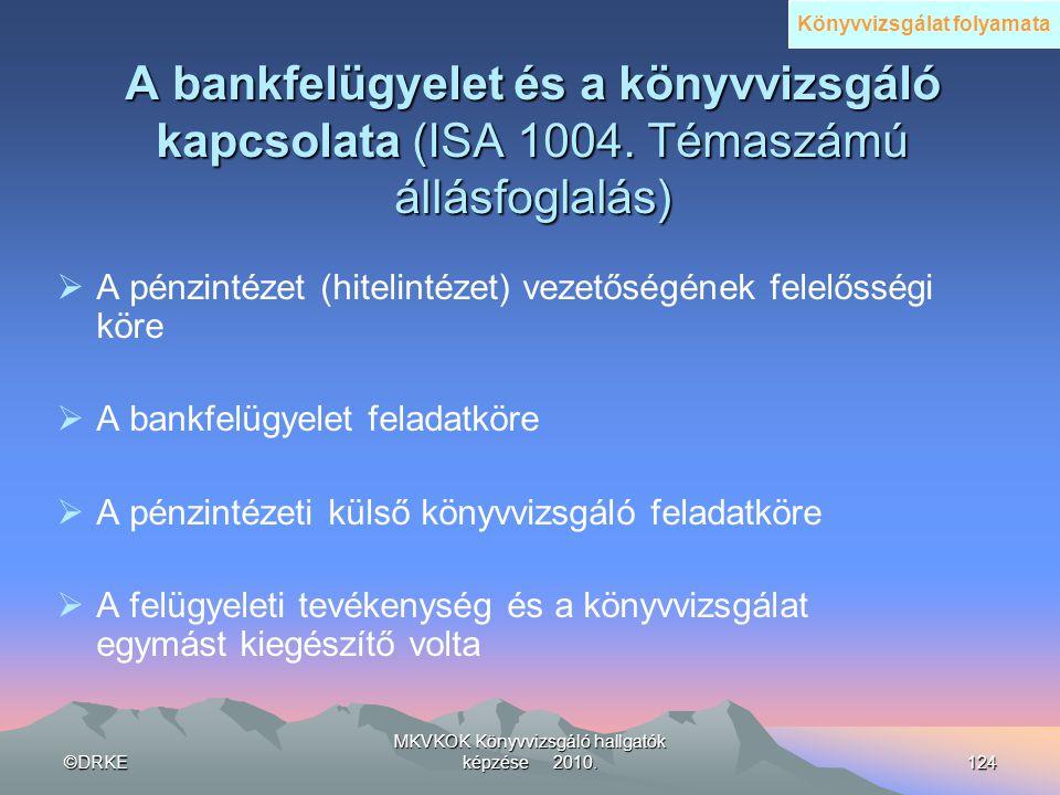 ©DRKE MKVKOK Könyvvizsgáló hallgatók képzése 2010.124 A bankfelügyelet és a könyvvizsgáló kapcsolata (ISA 1004. Témaszámú állásfoglalás)  A pénzintéz