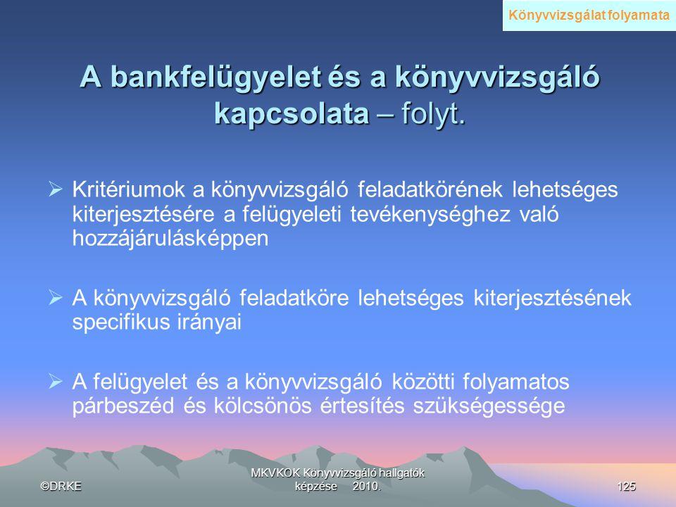 ©DRKE MKVKOK Könyvvizsgáló hallgatók képzése 2010.125 A bankfelügyelet és a könyvvizsgáló kapcsolata – folyt.  Kritériumok a könyvvizsgáló feladatkör