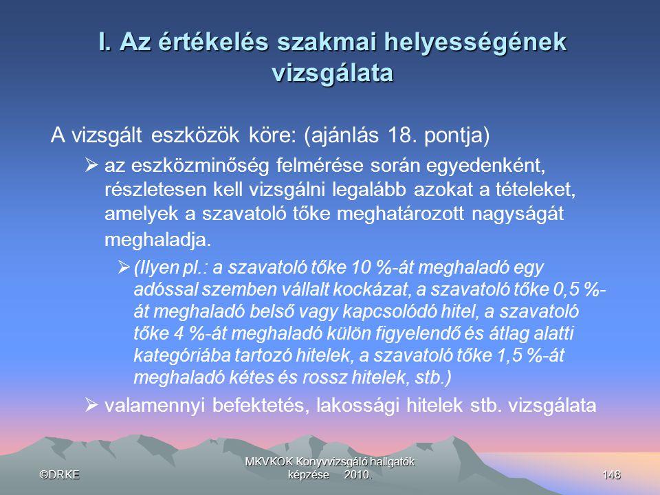 ©DRKE MKVKOK Könyvvizsgáló hallgatók képzése 2010.148 I. Az értékelés szakmai helyességének vizsgálata A vizsgált eszközök köre: (ajánlás 18. pontja)