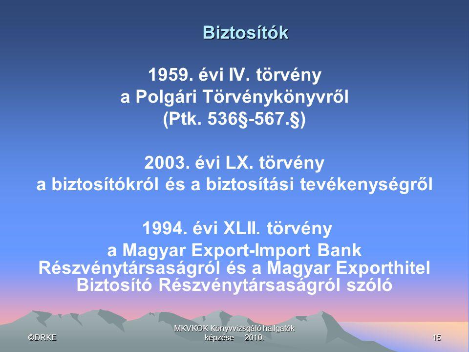 ©DRKE15 MKVKOK Könyvvizsgáló hallgatók képzése 2010. Biztosítók 1959. évi IV. törvény a Polgári Törvénykönyvről (Ptk. 536§-567.§) 2003. évi LX. törvén