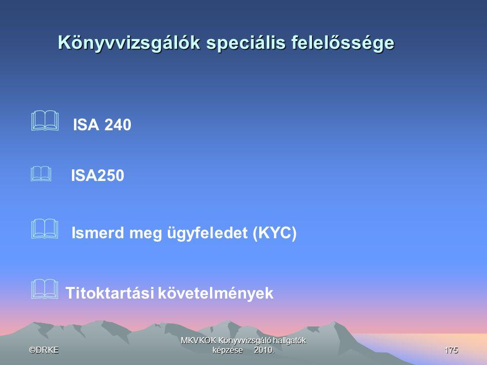 ©DRKE MKVKOK Könyvvizsgáló hallgatók képzése 2010.175 Könyvvizsgálók speciális felelőssége  ISA 240  ISA250  Ismerd meg ügyfeledet (KYC)  Titoktar