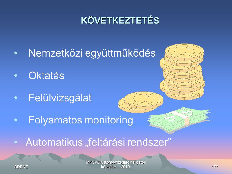 ©DRKE MKVKOK Könyvvizsgáló hallgatók képzése 2010.177 KÖVETKEZTETÉS • Nemzetközi együttműködés • Oktatás • Felülvizsgálat • Folyamatos monitoring • Au