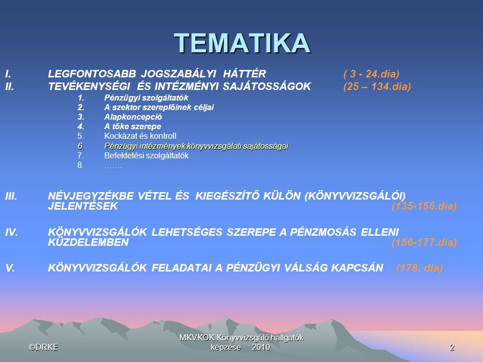 ©DRKE MKVKOK Könyvvizsgáló hallgatók képzése 2010.2 TEMATIKA I.LEGFONTOSABB JOGSZABÁLYI HÁTTÉR ( 3 - 24.dia) II.TEVÉKENYSÉGI ÉS INTÉZMÉNYI SAJÁTOSSÁGO