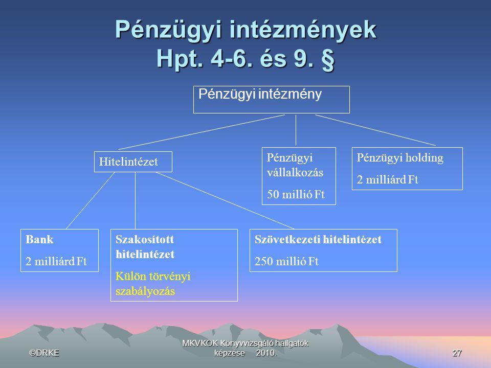 ©DRKE MKVKOK Könyvvizsgáló hallgatók képzése 2010.27 Pénzügyi intézmények Hpt. 4-6. és 9. § Pénzügyi intézmény Hitelintézet Pénzügyi vállalkozás 50 mi