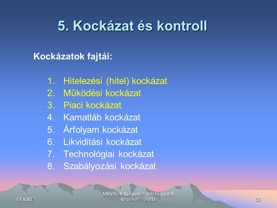 ©DRKE MKVKOK Könyvvizsgáló hallgatók képzése 2010.33 5. Kockázat és kontroll Kockázatok fajtái: 1.Hitelezési (hitel) kockázat 2.Működési kockázat 3.Pi