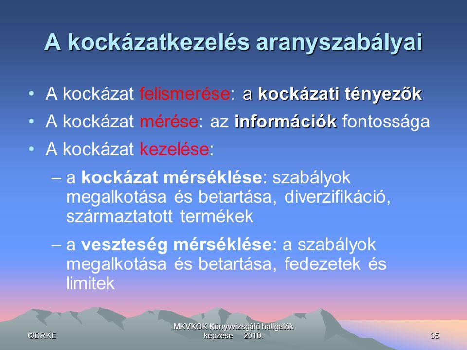 ©DRKE MKVKOK Könyvvizsgáló hallgatók képzése 2010.35 A kockázatkezelés aranyszabályai a kockázati tényezők •A kockázat felismerése: a kockázati tényez