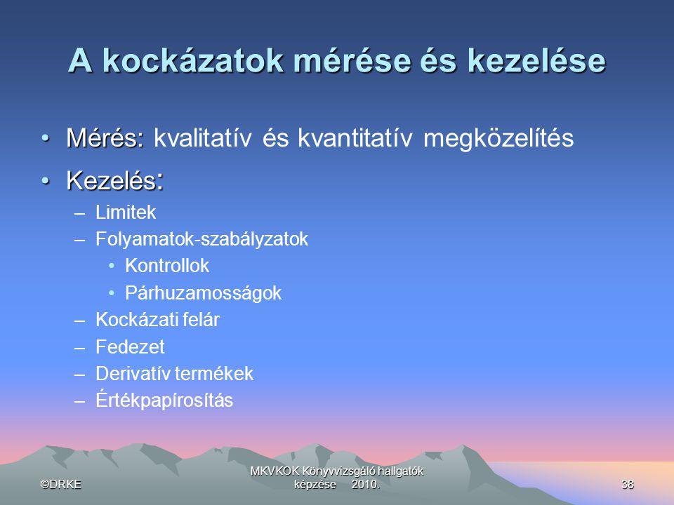 ©DRKE MKVKOK Könyvvizsgáló hallgatók képzése 2010.38 A kockázatok mérése és kezelése •Mérés: •Mérés: kvalitatív és kvantitatív megközelítés •Kezelés :