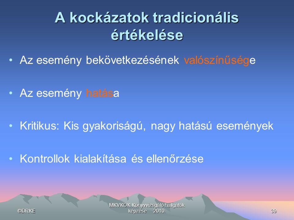 ©DRKE MKVKOK Könyvvizsgáló hallgatók képzése 2010.39 A kockázatok tradicionális értékelése •Az esemény bekövetkezésének valószínűsége •Az esemény hatá
