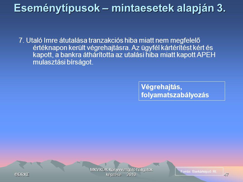 ©DRKE MKVKOK Könyvvizsgáló hallgatók képzése 2010.47 7. Utaló Imre átutalása tranzakciós hiba miatt nem megfelelő értéknapon került végrehajtásra. Az
