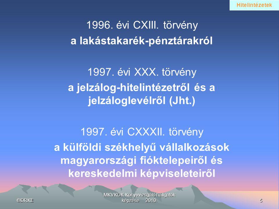 ©DRKE5 MKVKOK Könyvvizsgáló hallgatók képzése 2010. 1996. évi CXIII. törvény a lakástakarék-pénztárakról 1997. évi XXX. törvény a jelzálog-hitelintéze