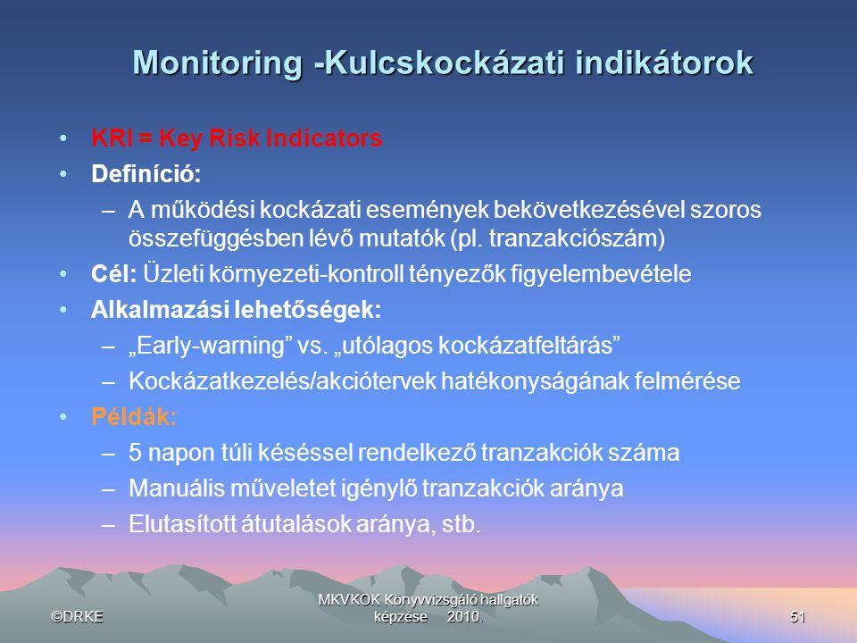 ©DRKE MKVKOK Könyvvizsgáló hallgatók képzése 2010.51 Monitoring -Kulcskockázati indikátorok •KRI = Key Risk Indicators •Definíció: –A működési kockáza