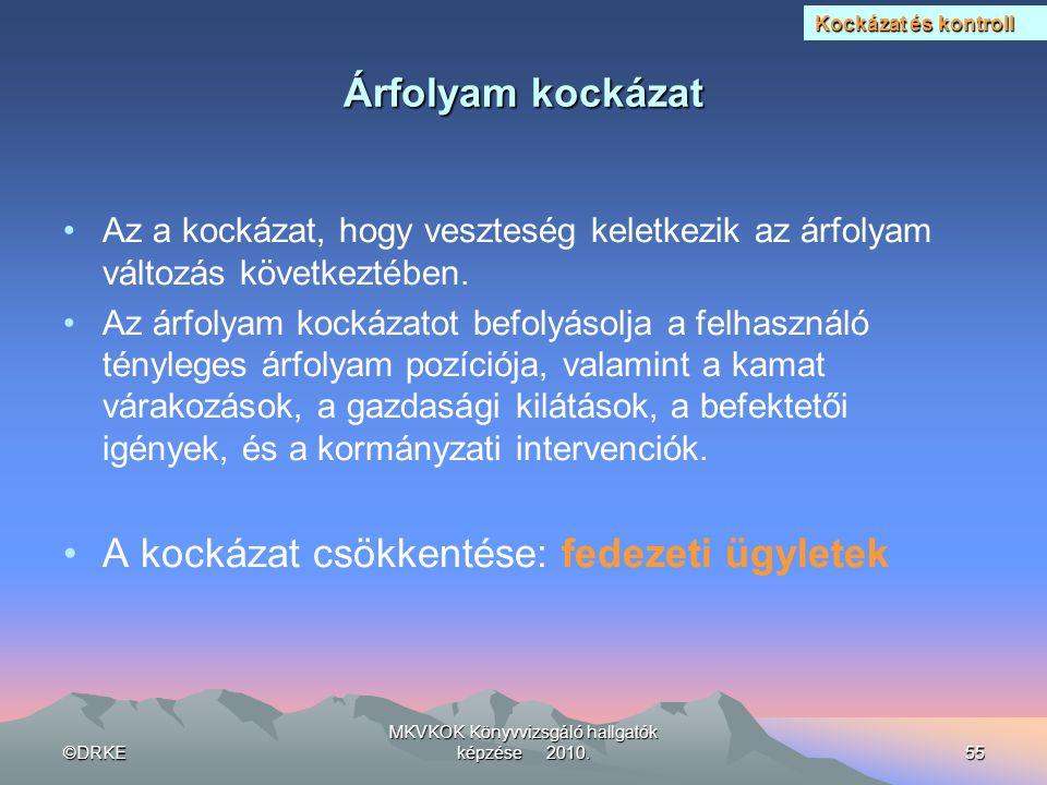 ©DRKE MKVKOK Könyvvizsgáló hallgatók képzése 2010.55 Árfolyam kockázat •Az a kockázat, hogy veszteség keletkezik az árfolyam változás következtében. •