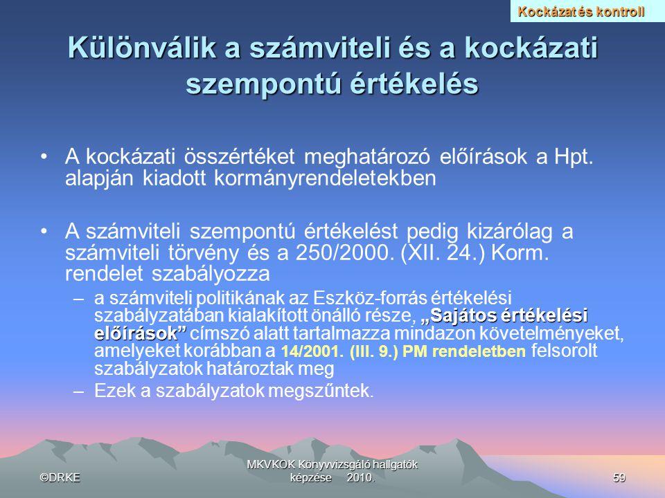 ©DRKE MKVKOK Könyvvizsgáló hallgatók képzése 2010.59 Különválik a számviteli és a kockázati szempontú értékelés •A kockázati összértéket meghatározó e