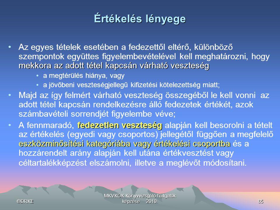 ©DRKE MKVKOK Könyvvizsgáló hallgatók képzése 2010.65 Értékelés lényege mekkora az adott tétel kapcsán várható veszteség •Az egyes tételek esetében a f