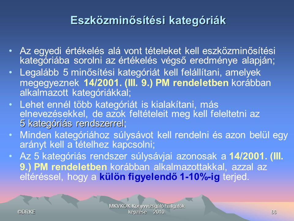 ©DRKE MKVKOK Könyvvizsgáló hallgatók képzése 2010.66 Eszközminősítési kategóriák •Az egyedi értékelés alá vont tételeket kell eszközminősítési kategór