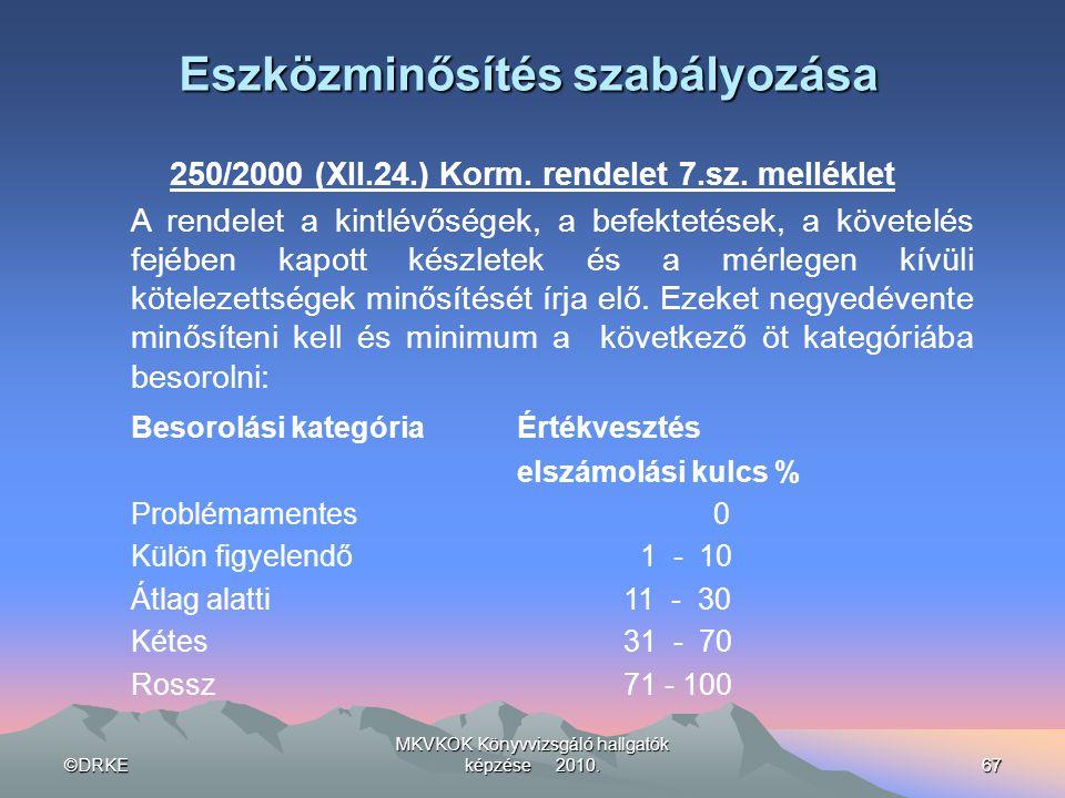 ©DRKE MKVKOK Könyvvizsgáló hallgatók képzése 2010.67 Eszközminősítés szabályozása 250/2000 (XII.24.) Korm. rendelet 7.sz. melléklet A rendelet a kintl