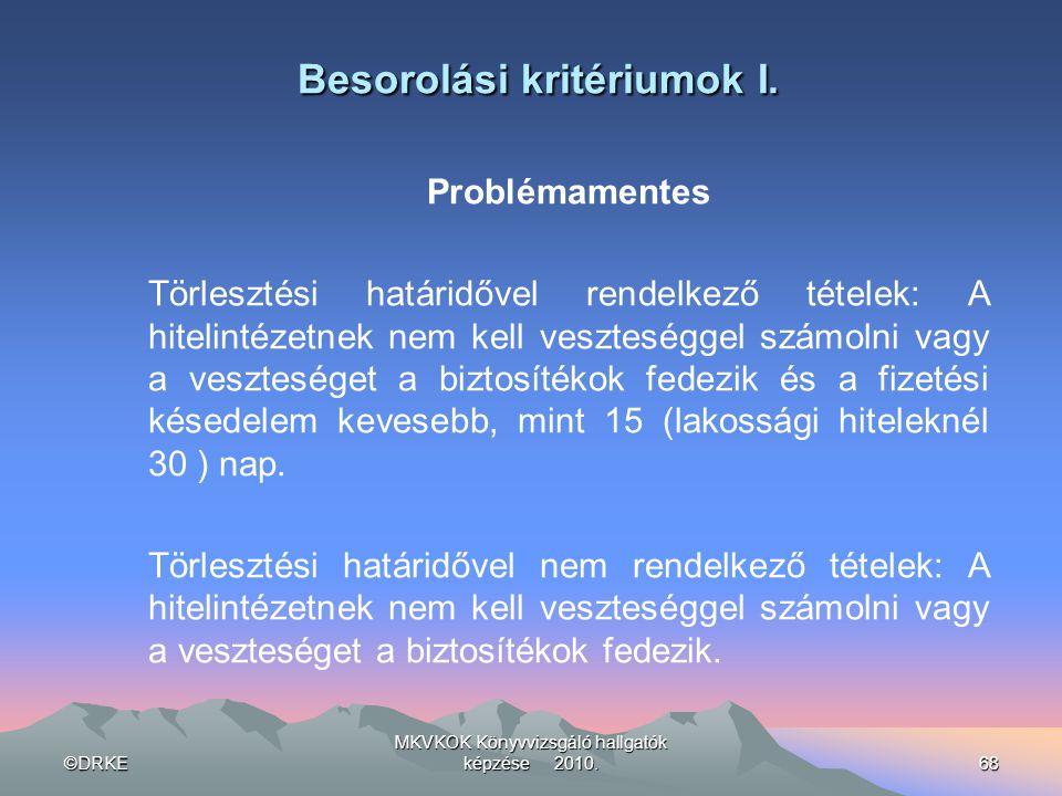 ©DRKE MKVKOK Könyvvizsgáló hallgatók képzése 2010.68 Besorolási kritériumok I. Problémamentes Törlesztési határidővel rendelkező tételek: A hitelintéz
