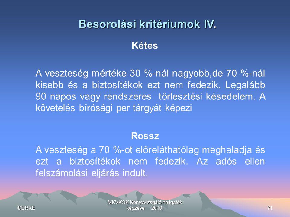 ©DRKE MKVKOK Könyvvizsgáló hallgatók képzése 2010.71 Besorolási kritériumok IV. Kétes A veszteség mértéke 30 %-nál nagyobb,de 70 %-nál kisebb és a biz