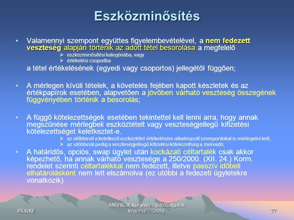 ©DRKE MKVKOK Könyvvizsgáló hallgatók képzése 2010.77Eszközminősítés nem fedezett veszteségalapján történik az adott tétel besorolása •Valamennyi szemp