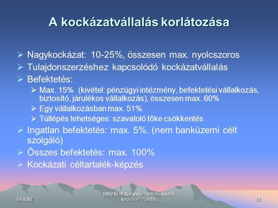 ©DRKE MKVKOK Könyvvizsgáló hallgatók képzése 2010.86 A kockázatvállalás korlátozása  Nagykockázat: 10-25%, összesen max. nyolcszoros  Tulajdonszerzé
