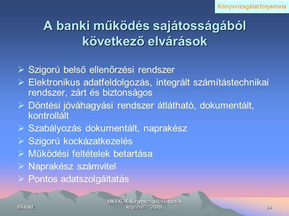©DRKE MKVKOK Könyvvizsgáló hallgatók képzése 2010.94 A banki működés sajátosságából következő elvárások  Szigorú belső ellenőrzési rendszer  Elektro