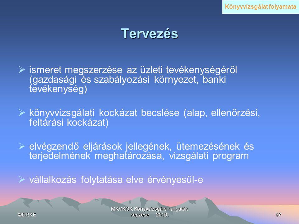 ©DRKE MKVKOK Könyvvizsgáló hallgatók képzése 2010.97 Tervezés  ismeret megszerzése az üzleti tevékenységéről (gazdasági és szabályozási környezet, ba