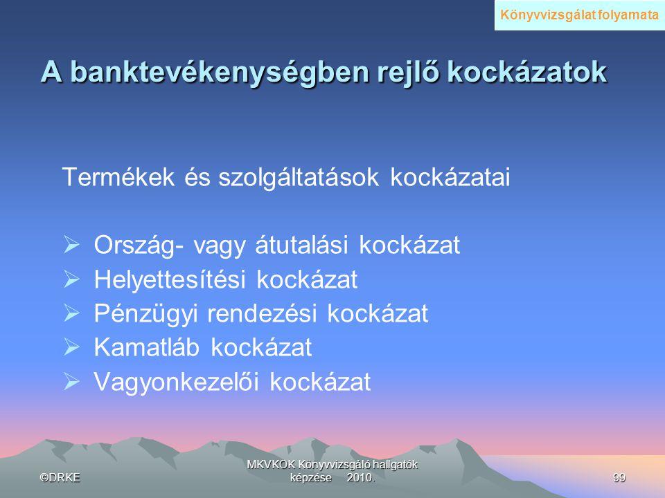 ©DRKE MKVKOK Könyvvizsgáló hallgatók képzése 2010.99 A banktevékenységben rejlő kockázatok A banktevékenységben rejlő kockázatok Termékek és szolgálta