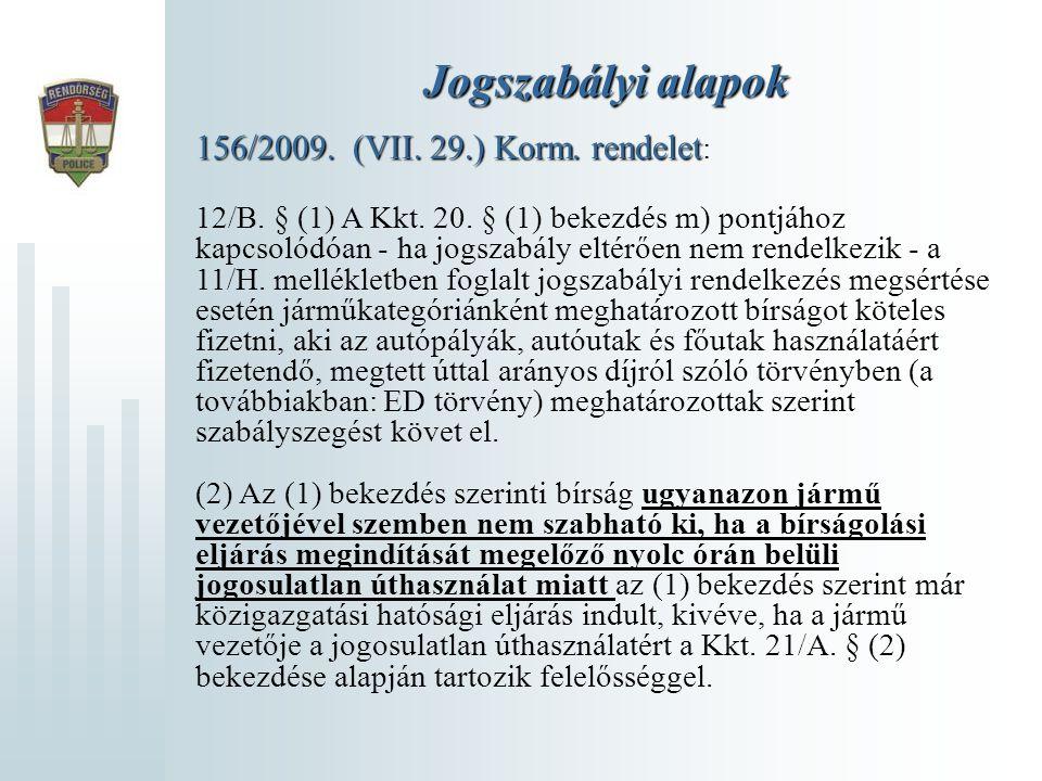 Jogszabályi alapok 156/2009. (VII. 29.) Korm. rendelet 156/2009. (VII. 29.) Korm. rendelet : 12/B. § (1) A Kkt. 20. § (1) bekezdés m) pontjához kapcso