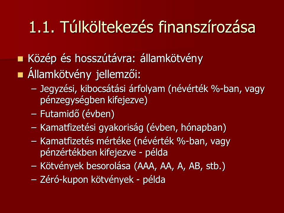 1.1. Túlköltekezés finanszírozása  Közép és hosszútávra: államkötvény  Államkötvény jellemzői: –Jegyzési, kibocsátási árfolyam (névérték %-ban, vagy