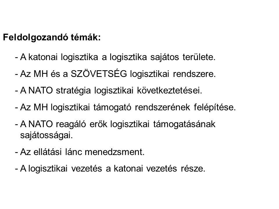 - A katonai logisztika a logisztika sajátos területe. - Az MH és a SZÖVETSÉG logisztikai rendszere. - A NATO stratégia logisztikai következtetései. -